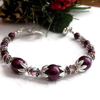 Deep Purple Pearl Crystal and Silver Bracelet Purple Beaded Bracelet Feminine Bracelet Wedding Jewelry Special Gift for Her