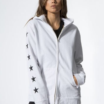 Oversized Hoody With Foil Stars Sweatshirts in White
