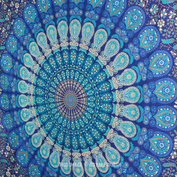"86""X56"" Twin Indian Blue Hippie Mandala Tapestry Wall Hanging Boho Gypsy Decor on RoyalFurnish.com"