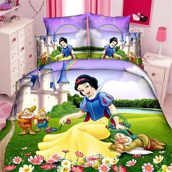 Disney snow princess girls bedding set duvet cover bed sheet.
