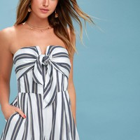 Confide In Me Blue and White Striped Strapless Tie-Front Romper