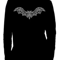 Wrought Iron Grey Bat Men's Long Sleeve T-Shirt Gothic Clothing