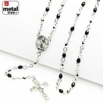 "Jewelry Kay style Silver Plated 4 mm Bead Guadalupe & Jesus Cross 25"" Rosary Necklace HR 700 SSBK"