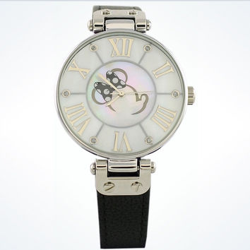 Disney Parks Black Minnie Mouse Leather Watch by Sutton New with Case