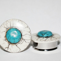 "RESERVED OOAK White and Teal Howlite Plugs 1"" 25mm"