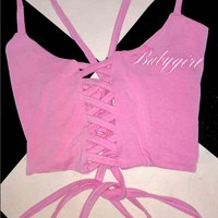 SWEET LORD O'MIGHTY! BABYGIRL LACE UP TANK IN PINK