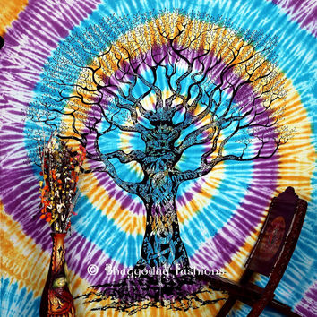 Native Purity Tree of Life Wall Tapestry Hand Tie Dye Bohemian Boho wall Tapestries,Hippie Gypsy Wall Hanging Mother's Day GiftsTapestrys