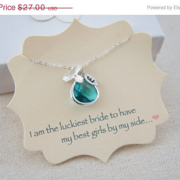 10% OFF Personalized blue zircon color gem necklace with orchid and hand stamped leaf, sterling silver, wedding, bridesmaid, gift