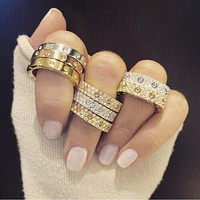 """Cartier""Classic Trending Ring Women Men Stylish Full of Diamonds Ring Stars Couple Ring Accessories jewelry I/A"