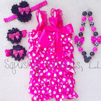 Hot Pink Minnie Mouse Romper Outfit; Minnie Mouse Birthday Outfit; Includes: Romper, Necklace, Headband, Barefoot Sandals; Sized Newborns-6T