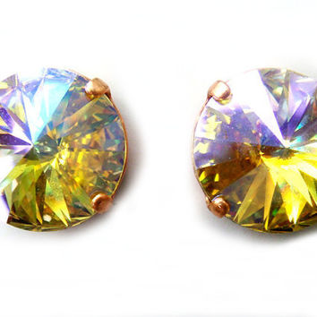 Last Pair Spring Morning Iridescent Special Effects Color Changing Swarovski Earrings Custom Limited Edition