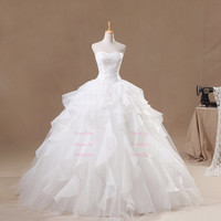 Sweetheart Appliques Bodice Ruffles Wedding Dresses/Ball Gown/Dress for Wedding/Cheap Wedding Dress/Bridal Dress/X125