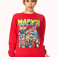 FOREVER 21 Marvel Heroes Sweatshirt Red/Yellow Medium