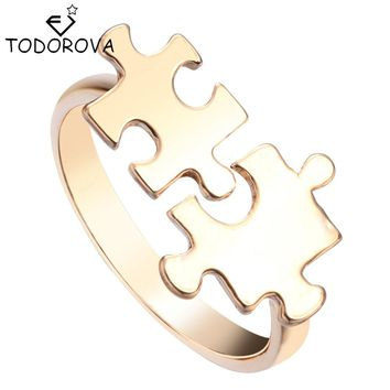 Todorova Vintage Puzzle Knuckle Rings Fashion Jewelry Silver Gold Encircle Open Adjustable Rings For Women Girl Best Friend Gift