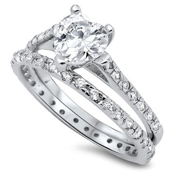 Sterling Silver CZ 2.5 carat Heart cut Wedding Ring Set Size 5-10