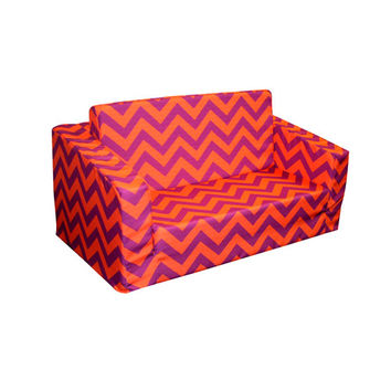 Komfy Kings, Inc 31196 Newco Kids Chevron Purple and Orange Flip Sofa