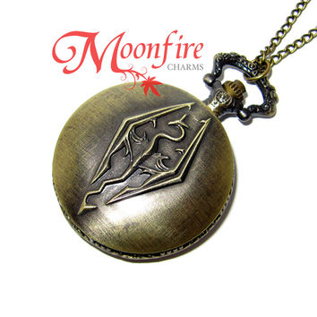 SKYRIM Elder Scrolls Dragon Pocket Watch Necklace