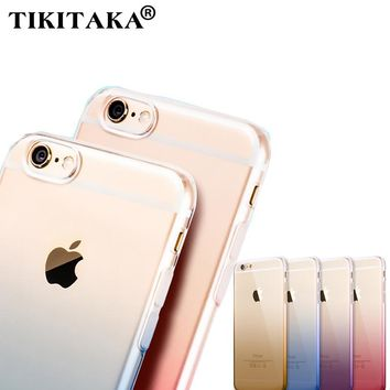 Case for iPhone 6 6s 4.7' / 6 6s Plus 5.5' Clear Cute Gradient TPU Soft Dual Silicon Cover Fundas Silicon Gel Transaprent Cases