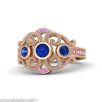 Rose Gold Finish 925 Sterling Blue & Pink Sapphire Disney Princess Wedding Ring