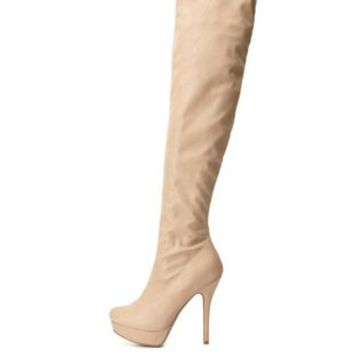 High Heel Platform Over-the-Knee Boots by Charlotte Russe - Nude