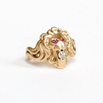 Antique 10k Rosy Yellow Gold Lion Ring - Vintage Late 1800s Victorian Edwardian Figural Ruby & Diamond Fierce Cat Fine Jewelry