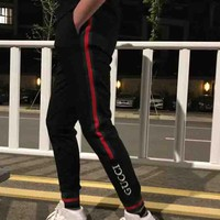 GUCCI 2018 spring and summer new men and women with the same paragraph casual wild trousers F-XMCP-YC