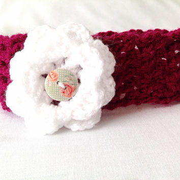 Red white headband woman child gift baby custom made