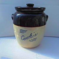 Pottery Stoneware Cookie Jar Brown Tan Cobalt Vintage Kitchen Decor