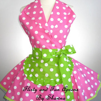 Retro Pin Up I Love Lucy Costume Apron with Pink and Lime Green Polka Dots