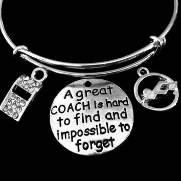 Swim Coach Jewelry Crystal Whistle Adjustable Bracelet Expandable Silver Charm Bangle Swimmer One Size Fits All Gift A Great Coach is Hard to Find and Impossible to Forget