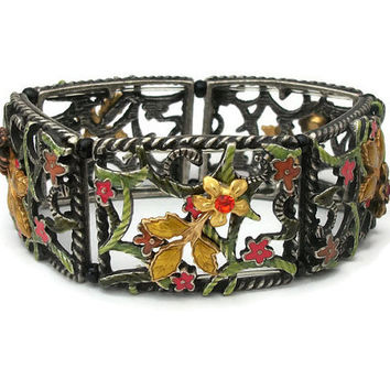 Vintage Flower Panel Stretch Bracelet Silver Tone Metal Enamel Floral Openwork Panels Open Design Work Elastic -Red Pink Orange Yellow Green