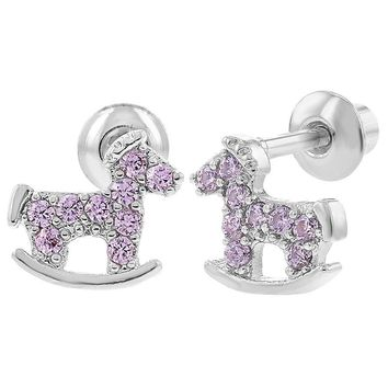Rhodium Plated Pink CZ Rocking Horse Screwback Earrings for Toddlers Girls Kids