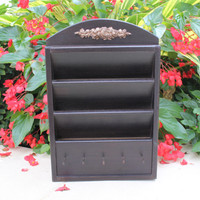 Cottage chic brown black mail holder with key pegs, topped with decorative copper rose applique