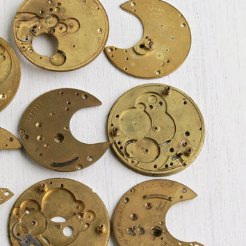 Vintage & Antique Pocket Watch Movement Part Lot - 8 Brass Clock Pieces for Parts, Jewelry Making / Large Elgin Steampunk Supplies