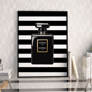 PRINTABLE Art,COCO CHANEL Perfume Bottle,Coco Noir,Makeup Print,Fashion Illustration,Digital Print,Bathroom Decor,Gift For Her.Women Gifts
