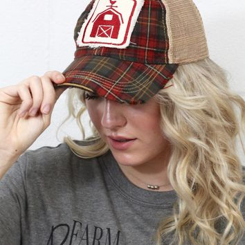 Plaid Barn Patch + Mesh Back Cap