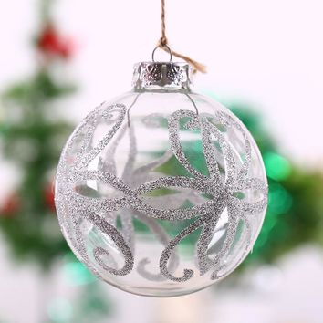 Clear Glass Ball Xmas Ornament/Silver Octopus design/ Holiday festival hanging decor bauble wedding anniversary event scene 8cm