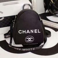 Chanel black Casual Shoulder SchoolBag Satchel Handbag Backpack H-3A-XNRSSNB