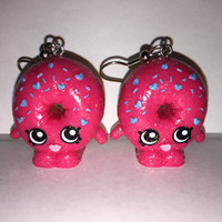 Shopkins Foodie Earrings - D'lish Donut [glitter] - made with repurposed toys
