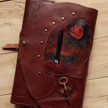 Dark Tower leather book cover / Stephen King inspired/ 19 / KA / Katet / Rose patchwork book cover / Key fantasy book cover