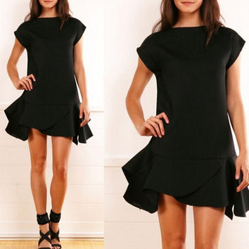 Casual Round-neck Short Sleeve Leaf Mini Dress [6044832193]