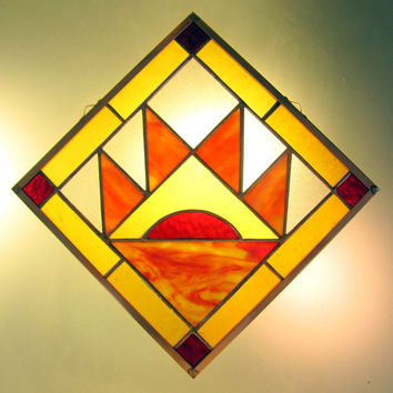 "Stained Glass Mountain Quilt Square Bear Paw Pattern Bright Colors - Handmade 9 "" Hanging Window Panel by Dark Hollow Stained Glass"
