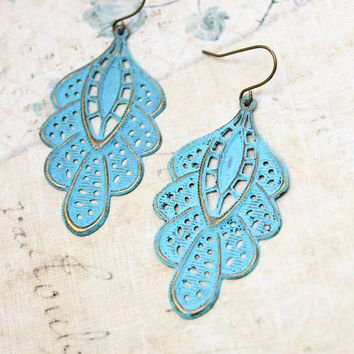 Aqua Blue Filigree Earrings, Patina Brass Lace Earrings, Painted Blue Verdigris Patina, Long Dangle Earrings, Country Chic Wedding, Boho