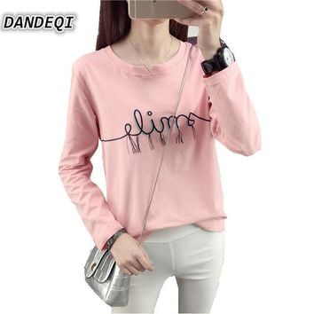 DCCKWQA Brand Tshirt New Autumn Korean Fashion Women's Cotton Top Casual Simple Bottoming Female Tee Letters Printed Long Sleeve T-shirt