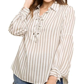 Umgee Striped Lace Up Collared Plus Size Top Latte