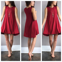 A Sophie Tee Dress in Crimson