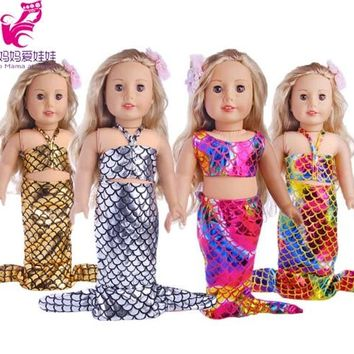 "Doll Clothes Set Mermaid dress for 18 inch American girl doll doll for 18"" doll dress up set accessory"