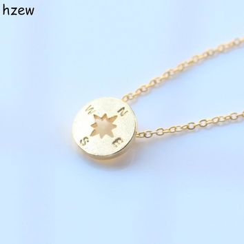 hzew Min 1pc Gold and Silver simple round jewelry vintage compass necklace