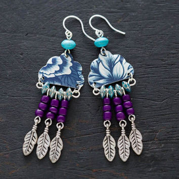 Plum and Turquoise Dreamcatcher Inspired Earrings with Blue Vintage Tin and Feather Charms, Bohemian Jewelry, Native Jewelry