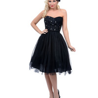 Unique Vintage Black Tulle Strapless Dress